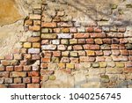 the wall of the old brick house ... | Shutterstock . vector #1040256745