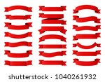 21 red ribbons on white... | Shutterstock .eps vector #1040261932