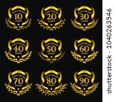 set of gold anniversary badges... | Shutterstock .eps vector #1040263546