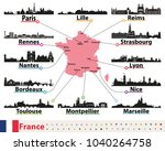 france map with largest cities... | Shutterstock .eps vector #1040264758