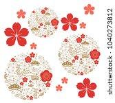 japanese pattern. gold... | Shutterstock .eps vector #1040273812