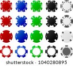 4 sets of poker chips  5 pieces ... | Shutterstock .eps vector #1040280895