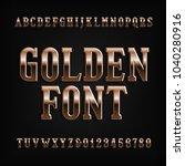 vintage gold alphabet font.... | Shutterstock .eps vector #1040280916