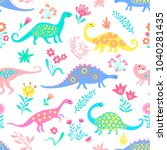 dinosaurs cute kids pattern for ... | Shutterstock .eps vector #1040281435