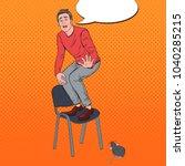 pop art screaming man scared by ... | Shutterstock .eps vector #1040285215