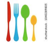 plastic cutlery. children's... | Shutterstock .eps vector #1040289805