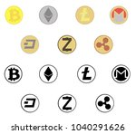 crypto currensy coins icons set.... | Shutterstock .eps vector #1040291626