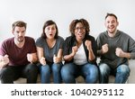 friends cheering sport game... | Shutterstock . vector #1040295112
