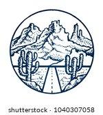 mountain vintage emblem. sketch ... | Shutterstock .eps vector #1040307058