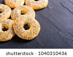 homemade new york bagels on... | Shutterstock . vector #1040310436