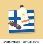 greece tourism. towel in the... | Shutterstock .eps vector #1040311048