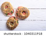 homemade bagels with salmon  ...   Shutterstock . vector #1040311918