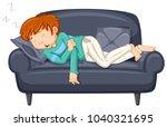 man napping on black sofa... | Shutterstock .eps vector #1040321695
