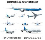 airplane in different positions ... | Shutterstock .eps vector #1040321788