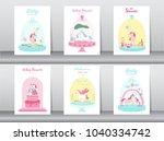 set of baby shower cards poster ...   Shutterstock .eps vector #1040334742