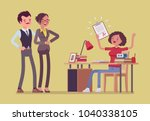 student girl happy with an... | Shutterstock .eps vector #1040338105