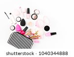 cosmetic bag with beauty...   Shutterstock . vector #1040344888