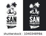 vintage moped bikers club black ... | Shutterstock .eps vector #1040348986