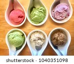variety ice cream in white... | Shutterstock . vector #1040351098