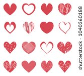 red hearts icons set. valentine'... | Shutterstock .eps vector #1040360188
