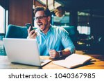 stressed proud ceo scream with... | Shutterstock . vector #1040367985