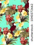 bright colorful jungle pattern... | Shutterstock .eps vector #1040372662
