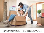 couple moving to a new home  ... | Shutterstock . vector #1040380978
