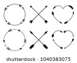 circle and heart arrow frames... | Shutterstock .eps vector #1040383075