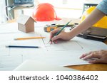 alone architect woman working... | Shutterstock . vector #1040386402