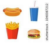 icons set lunch with hamburger  ... | Shutterstock . vector #1040387212