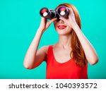 young redhead girl with... | Shutterstock . vector #1040393572