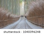 rare snowfall in kyoto's famous ... | Shutterstock . vector #1040396248