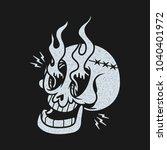 skull fire tattoo stamp shirt... | Shutterstock .eps vector #1040401972