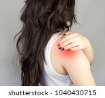 a girl with long hair clings to ... | Shutterstock . vector #1040430715
