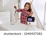 it is bargain. joyful pre teen... | Shutterstock . vector #1040437282