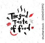 the good taste of food.  hand... | Shutterstock .eps vector #1040453992
