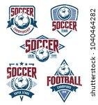vector football emblems set.... | Shutterstock .eps vector #1040464282
