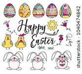 hand drawn set of easter design ... | Shutterstock .eps vector #1040474842
