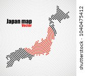 abstract japan map of radial... | Shutterstock .eps vector #1040475412