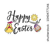 happy easter greeting text...   Shutterstock .eps vector #1040477146