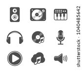 audio icon set design black...   Shutterstock .eps vector #1040485642