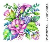 watercolor botanical... | Shutterstock . vector #1040489056