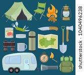 set of travel equipment.... | Shutterstock .eps vector #1040496238