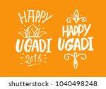 happy ugadi handwritten... | Shutterstock .eps vector #1040498248