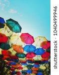 Small photo of umbrella against the rain against the blue sky