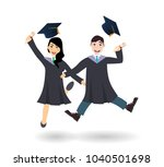 a young graduate man and woman... | Shutterstock .eps vector #1040501698