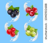 fruit berries and milk or... | Shutterstock .eps vector #1040502688