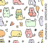 seamless pattern with funny... | Shutterstock .eps vector #1040516932