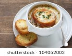 french onion gratin soup | Shutterstock . vector #104052002