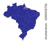 map of brazil. blue map of... | Shutterstock .eps vector #1040533732